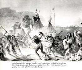 Assiniboin e Cree guerrieri attaccano Blackfeet