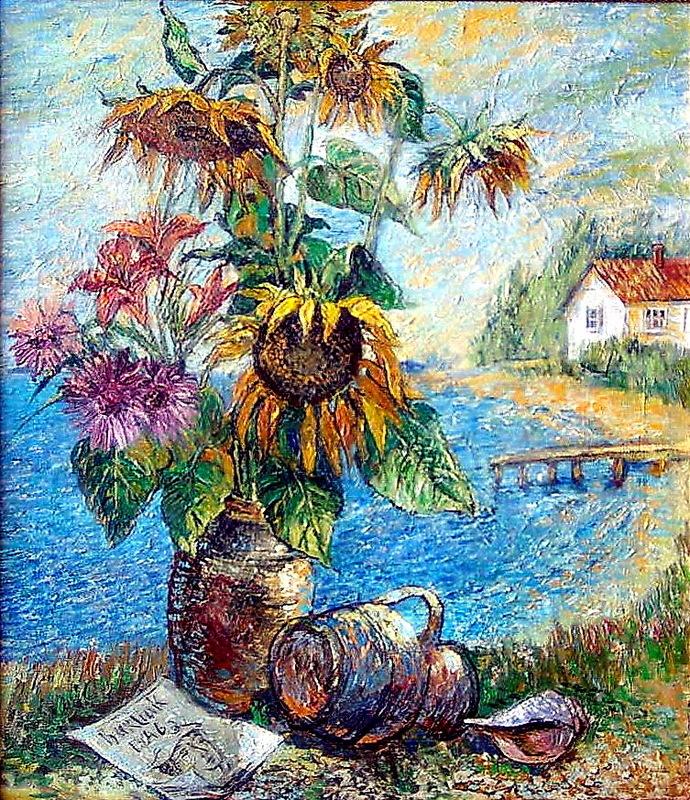 Bouquet con girasoli con paesaggio di David Burliuk in vendita