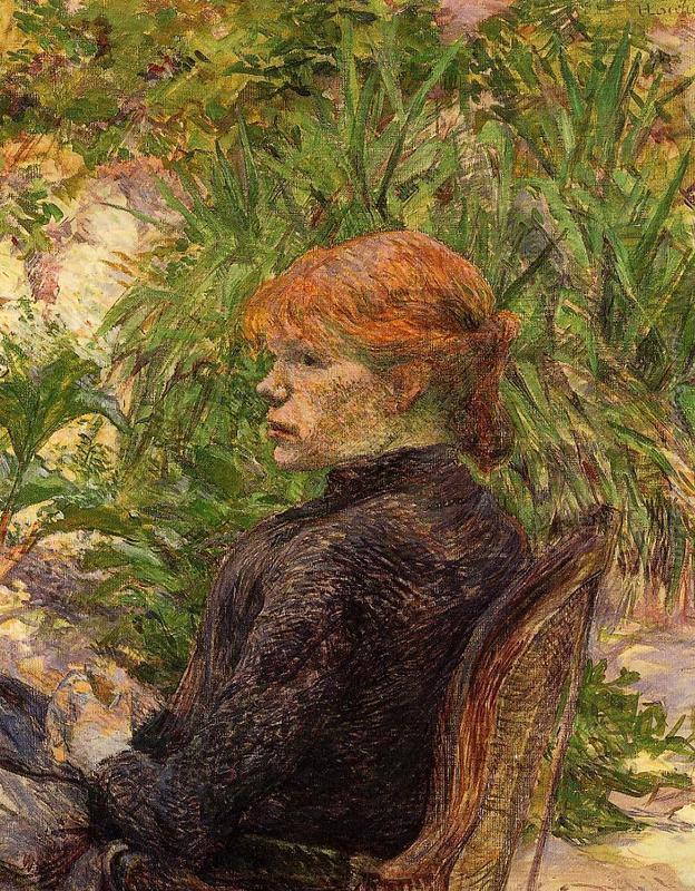 Donna dai capelli rossa Seduti nel giardino di M. Bosco di ...