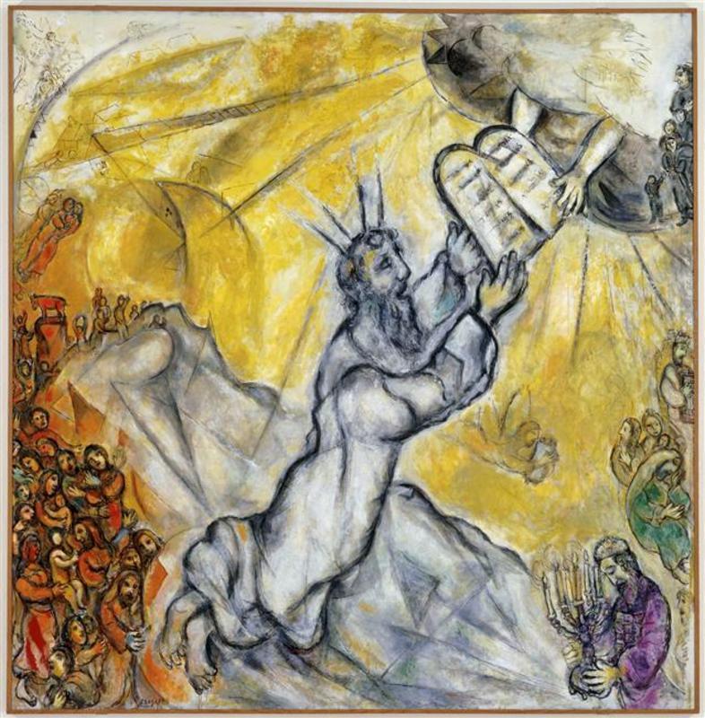 Mos riceve le tavole della legge di marc chagall in vendita - Le tavole della legge ...