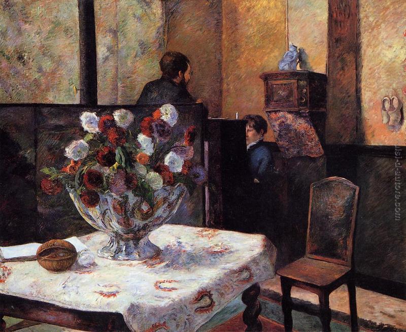 interno della casa del pittore rue carcel di paul gauguin